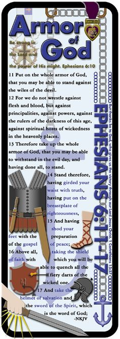 armor of god printable bookmark | This is an enlarged version of the Armor of God bookmark that shows a ...