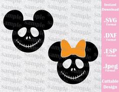 Jack Mickey and Minnie Ears Disney Halloween Inspired Cutting File in SVG, ESP, DXF and JPEG Format