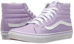 Vans - Slim (Lavender/True White) Skate Shoes - Shoes Features ✅ From the early days of shredding to the modern days of street skating, the Vans Slim is a style that keeps on ticking. A classic high-top skate sh Purple High Top Vans, Purple Vans, White High Top Sneakers, White High Tops, Purple Sneakers, Vans Sk8 Hi Slim, Sk8 Hi Vans, Tenis Vans, Vans Sneakers