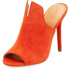 Halston Heritage Carmen Slit Stiletto Mule ($119) ❤ liked on Polyvore featuring shoes, mules, orange, peep-toe mules, stiletto shoes, leather shoes, peeptoe shoes and leather mules