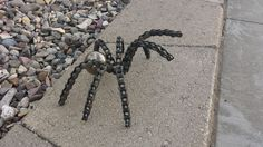 "I made this spider with a 2"" steel ball and bike chain."