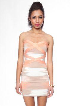 Slash Bandage Dress in Salmon Combo $47 at www.tobi.com