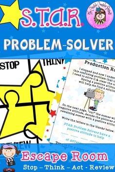 Welcome to Hollywood where the STAR Problem Solvers walk the red carpet in victory. This escape room lesson helps elementary students work together as they solve a variety of puzzles & learn how to become S. Elementary School Counselor, Elementary Schools, Social Emotional Learning, Social Skills, Conflict Resolution Skills, Problem Solving Activities, Counseling Activities, Guidance Lessons, Critical Thinking Skills