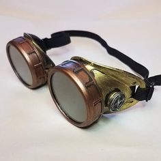 Steampunk Goggles Burning Man  Copper Costume Circus Victorian Cafe Racer