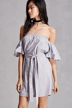 A woven mini dress featuring a striped pattern, an off-the-shoulder neckline, short ruffled sleeves, and a removable belt at the waist. This is an independent brand and not a Forever 21 branded item.