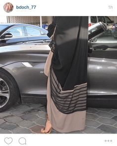 Black and beige abaya ♡ Arab Fashion, Islamic Fashion, Muslim Fashion, Modest Fashion, Fashion Outfits, Estilo Abaya, Modern Abaya, Parda, Hijab Style