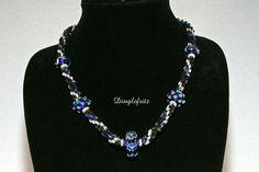 Cobalt Blue Lampwork Beads Necklace