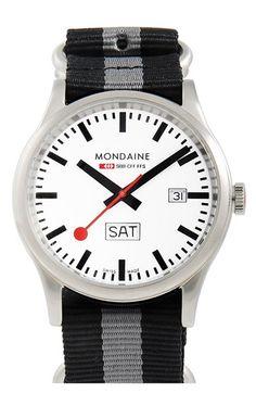 Mondaine 'Sport 1' Canvas Strap Watch, 41mm