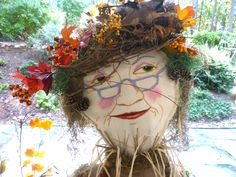 Last weekend the annual Keowee River Scarecrow Festival was held in Seneca, SC. Various organizations were invited to make a scarecrow for. Make A Scarecrow, Scarecrow Face, Halloween Scarecrow, Fall Halloween, Scarecrow Ideas, Scarecrows For Garden, Fall Scarecrows, Garden Crafts, Garden Projects