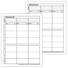 Fichiers PDF téléchargeables En noir et blanc seulement Versions 3-2 et 3-3 2 pages par fichier Amelie Pepin, Agenda Organization, Teacher Planner, Classroom, Teaching, How To Plan, Education, Filofax, Stage