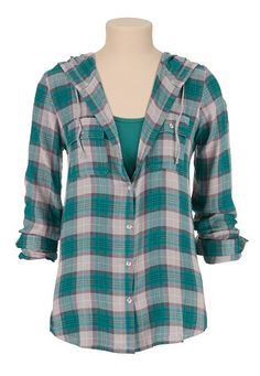 hooded button down plaid shirt (original price, $34) available at #Maurices