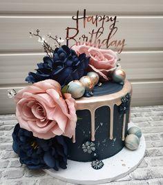 Happy Birthday Flower Cake, 50th Birthday Cake Toppers, 90th Birthday Cakes, Elegant Birthday Cakes, Birthday Cake For Mom, Beautiful Birthday Cakes, Gold Birthday Party, Golden Birthday, Birthday Cake Illustration