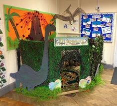 Great dinosaur role play area – we love it! Find lots of free dinosaur themed te… Great dinosaur role play area – we love it! Find lots of free dinosaur themed teaching resources when you create a free account with Twinkl. Dinosaurs Preschool, Dinosaur Activities, Preschool Themes, Preschool Crafts, Dinosaur Classroom, Dinosaur Play, Dinosaur Projects, Dinosaur Crafts, Dinosaur Decorations