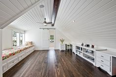 white wood ceiling, long length, built ins, wood floor