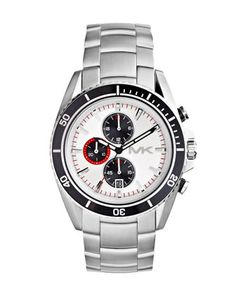 Michael Kors Oversize Silver Color Stainless Steel Lansing Chronograph Watch.