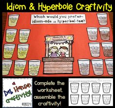 A fun craftivity focusing on idioms and hyperboles! It even includes an option for students to write their own idioms and hyperboles!