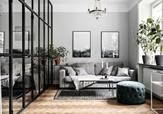 〚 Beautiful gray apartment with small bedroom behind glass wall (40 sqm) 〛 ◾ Photos ◾ Ideas ◾ Design #grey #Livingroom #glass #wall #interior #design #homedecor #home #decor #interiordesign #idea #inspiration #cozy #living #space #style