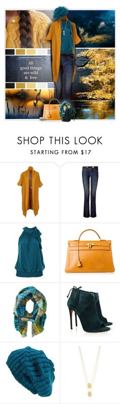 """""""Amarillo Skies"""" by thanna2029 ❤ liked on Polyvore featuring North Pole, AG Adriano Goldschmied, Hermès, Echo Design, Casadei, Leith, Jennifer Zeuner and Jill Golden"""