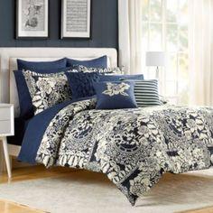 Indigo Bloom European Pillow Sham - BedBathandBeyond.com