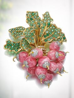 Gem set and diamond brooch 'Botte de Radis' René Boivin 1985 Designed as a radish bunch composed of polished rhodochrosite set with brilliant-cut diamonds the leaves set with circular-cut peridots signed René Boivin French assay and maker's marks. Gems Jewelry, Jewelry Art, Antique Jewelry, Jewelery, Vintage Jewelry, Fine Jewelry, Jewelry Design, Fashion Jewelry, Gemstone Jewelry