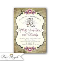 Western Birthday Invitations For Women 60th Cowgirl Printable Invites