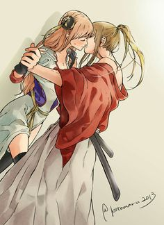1boy 1girl 2013 blush brown_hair bun_cover chinese_clothes closed_eyes couple gintama hetero high_ponytail highres holding_hands incipient_kiss japanese_clothes kagura_(gintama) kotomaru long_hair looking_at_another okita_sougo older orange_hair ponytail