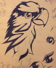 Tribal drawing ~ parrot, bird -Coline210