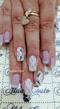 French Manicure Nail Designs, Flower Nail Designs, Toe Nail Designs, Manicure And Pedicure, Kawaii Nails, Great Nails, Flower Nails, Gorgeous Nails, Toe Nails