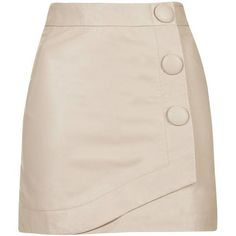 TopShop Blush Leather Wrap Skirt (155 AUD) ❤ liked on Polyvore featuring skirts, mini skirts, saia, blush, high-waist skirt, high rise skirts, mini skirt, topshop and leather mini skirt