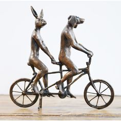 They loved riding together in Paris bronze sculpture | hardtofind.