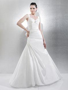 Fit & Flare One Shoulder Pleated Bodice Ruffling Chiffon Wedding Dress-wf0078, $272.95