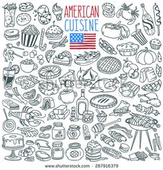Traditional Food And Drinks Of American Cuisine. Main And Side Dishes, Desserts, Bakery, Beverages . Freehand Vector Doodles Collection Isolated On White Background - 267916379 : Shutterstock