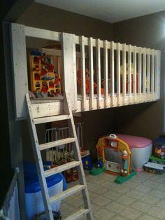Ideas for playroom loft. Loft Playroom, Toddler Playroom, Playroom Organization, Playroom Ideas, Basement Ideas, Basement Gym, Daycare Ideas, Beds For Kids Girls, Kid Beds