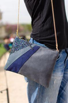 Pochette FIESTA gris bleuté / Chouette Fille  www.chouettefille-shop.com