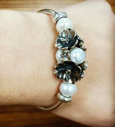 Apple Blossom and Pearls on a Trollbeads bangle, the perfect look for a night out!