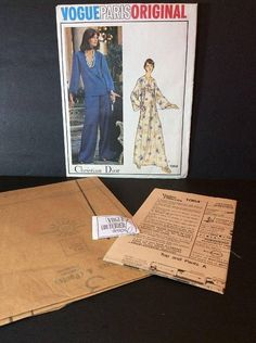 Vintage Vogue Paris Sewing Pattern 1064 Christian Dior Size 10 Misses Loungewear Top Pants Gown Factory Folded