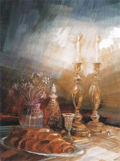 Shabbat Lithograph - Limited Edition Judaica Lithographs