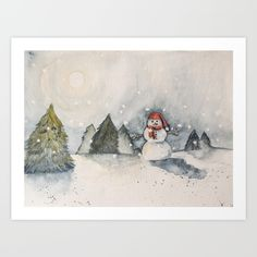 snowman Art Print by Miss Mustard Seed. Worldwide shipping available at Society6.com. Just one of millions of high quality products available.