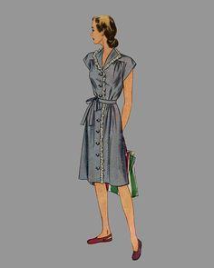 1945 Womans Dress Pattern Simplicity 1459 one piece by knightcloth Big band era fashion. Love the gathered yoke.