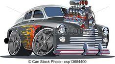Free Hot Rod Art   Cartoon retro hot rod isolated on white background. Available EPS-10 ...