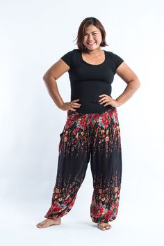 d74685690e845 Plus Size Floral Women s Harem Pants in Black