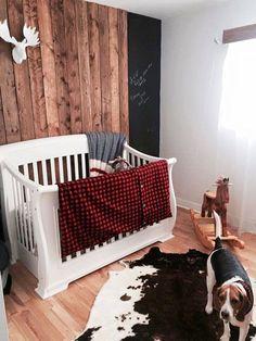 Ensemble literie de bébé style chasseur carreaux rouges et chevreuils - #bébé #carreaux #chasseur #chevreuils #de #ensemble #literie #rouges #style