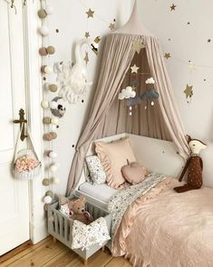 Some Monday morning inspo via . How sweet is that little dolls cot? Baby Room Decor, Nursery Room, Nursery Decor, Bedroom Decor, Big Girl Bedrooms, Little Girl Rooms, Girls Bedroom, Ideas Habitaciones, Nursery Inspiration