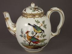 18c Antique Meissen German Porcelain Miniature Teapot Birds Insects Butterflies