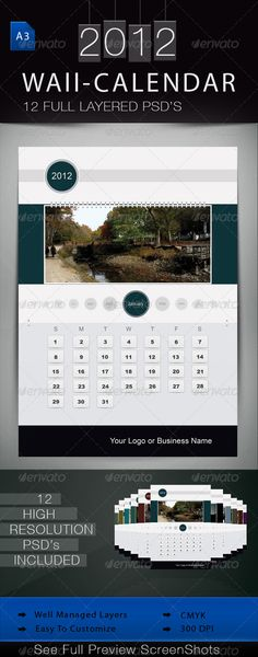Graphicriver  Calendar  Green Template  MockUps