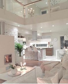 Try To Decorating With Luxury White Living Room Design 01 - Home Decor Design Dream House Interior, Luxury Homes Dream Houses, Dream Home Design, Modern House Design, Interior Design Living Room, Living Room Designs, Modern Interior, Modern Luxury, Dream Homes