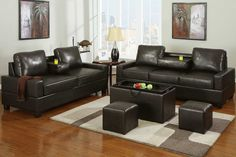 2 pc Chocolate leather like vinyl sofa and love seat set with center drop down arms. Each sofa and love seat feature a drop down arm behind the center cushion to use as a tray for drinks. Each piece is also available separately. Leather Sofa Couch, Furnishings, Sofa Bed Orange, Sofa, Furniture, Compact Sofa Set, Furniture Warehouse, Sofa Set, Leather Sofa Set