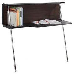 """Leaning c-shaped desk with sleek chromed legs.   Product: Leaning deskConstruction Material: Medium fiber board and selected veneersColor: Espresso and chromeFeatures:  Space-conscious design office desk is perfect for studio apartments, dorms and small office spacesTwo chrome-plated legs, each piece includes hardware to securely attach to the wall Dimensions: 47.63"""" H x 43"""" W x 15.8"""" D"""