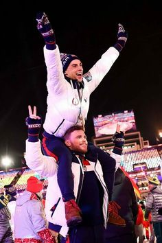 Adam Rippon and Gus Kenworthy at Olympics closing ceremonies