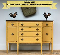 Chalk Paint & Stain Buffet Makeover by Turnstyle Vogue: featured at Mrs. Hines… Chalk Paint & Stain Buffet Makeover by Chalk Paint Furniture, Furniture Projects, Furniture Making, Furniture Makeover, Diy Furniture, Paint Colors For Furniture, Furniture Plans, Yellow Painted Furniture, Antique Furniture